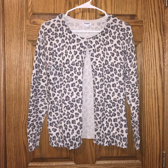 59bb0e0e030f Old Navy Sweaters   Long Sleeve Snow Leopard Print Cardigan   Poshmark