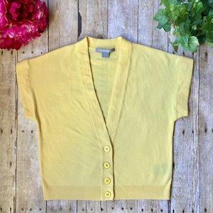 Ellen Tracy Cashmere Yellow ShortSleeve Cardigan S