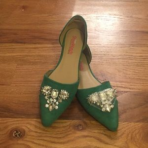 Green Flats With Jewels