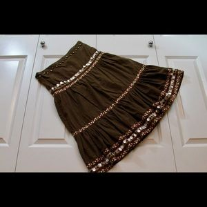 Brown cotton/polyester blend Indian inspired skirt