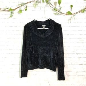 Rafaella Black cowl neck velvet velour sweater