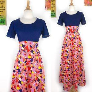 Vintage 70s op art print maxi dress empire waist