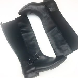 Arturo Chiang Black Leather & Fabric Riding Boots.