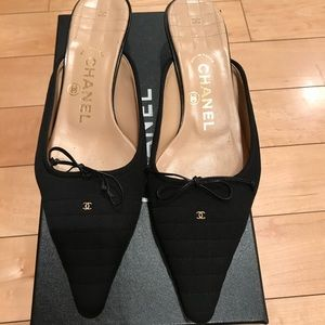 Chanel quilted fabric kitten heels