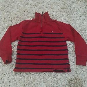Nautica red and navy striped zip up sweatshirt