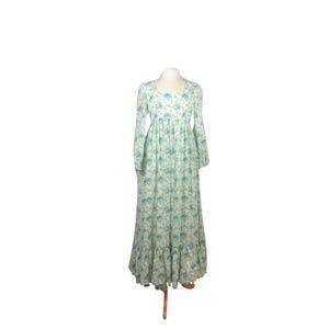 70's Pastel Floral Gunne Sax Style boho maxi dress