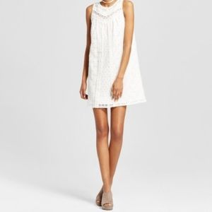 (NWOT) Boho High Neck Lace Shift Dress
