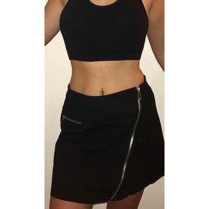 Zara black skirt with zippers NWT