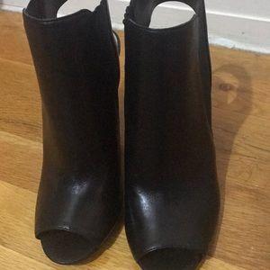 Black Vince Camuto open toe booties