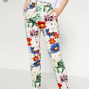 Floral Dragonfly Ankle Pants