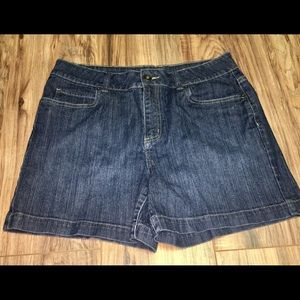 Mid length stretch jean shorts
