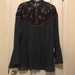 FREE PEOPLE Roses and Stripes Tunic