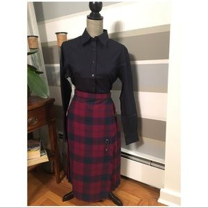 Vintage 100% Wool Wrap Around Plaid Skirt
