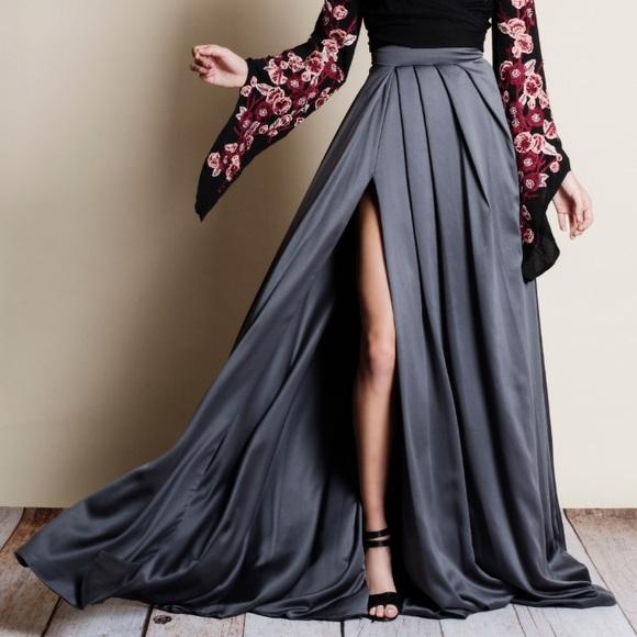 085f1af0c6 Skirts | Lux Pleated Satin Maxi Skirt | Poshmark