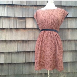 Anthro brand Tulle brown polka dot dress w/velvet