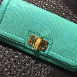 Teal  leather clutch