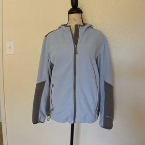 Full Zip Fleece Blue Hoodie Jacket Size Medium