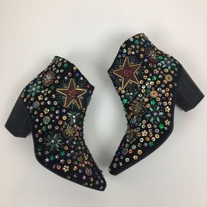 NEW Free People Night Out Beaded Star Booties