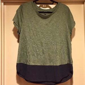 Green tee with silk accent