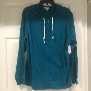 teal lightweight cotton hoodie