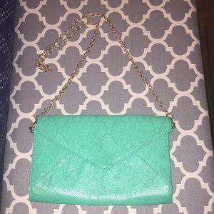 Green, seafoam purse, clutch, cross body