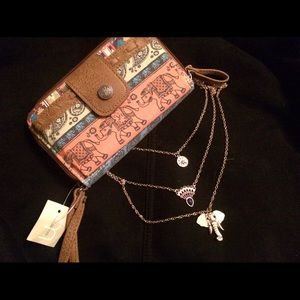 Vibrant elephant wallet and necklace