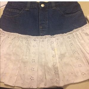 Other - Girls denim skirt with white lace like detail sz10