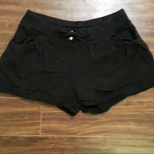 Ann Taylor drawstring black cuffed shorts