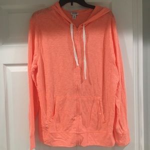 hot orange lightweight cotton hoodie