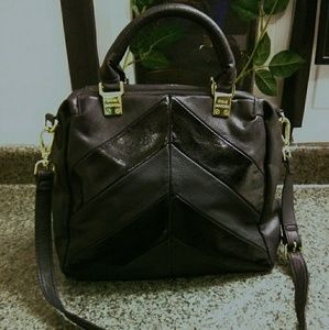 Steve Madden Black Faux Leather Satchel Bag