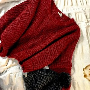 Red Batwing Chunky Knit Sweater