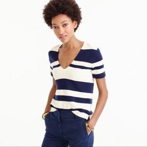 JCREW striped short-sleeve V-neck sweater Top S