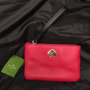 New! Kate Spade red leather Leroy Street wristlet