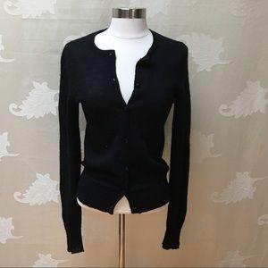 J. Crew Black Jeweled Button Sweater