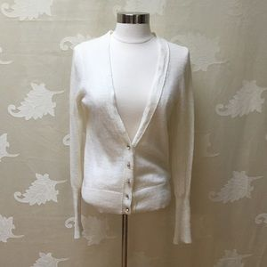 J. Crew Cream Jeweled Button Sweater