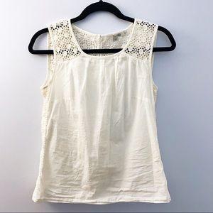 🖤💙 B O D E N Cotton White Crotchet Tank Top