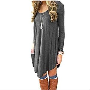 NEW COLOR! Casual T-shirt Dress in Deep Grey