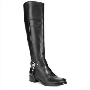 Michael Kors Black Fulton Harness Riding Boots