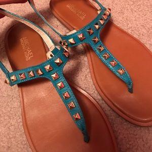 Micheal Kors blue studded Alexi sandal