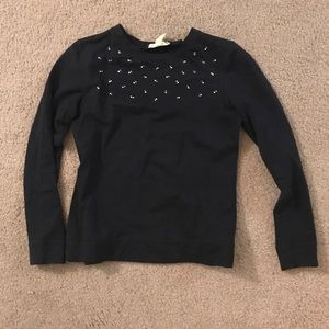 Banana Republic navy blinged out holiday sweater