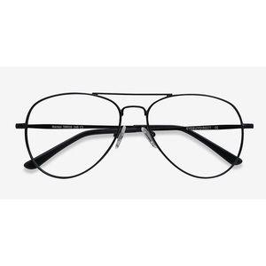"Matte All Black ""Nantes"" Aviator Eyeglasses"