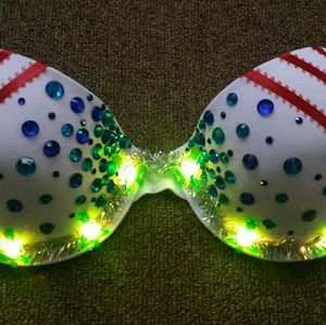 Other - Merry Christmas Rave Bra LED holiday candycane