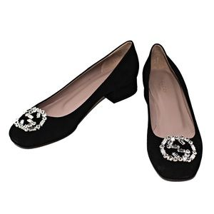 NEW GUCCI GG SPARKLING SUEDE BALLERINA FLATS