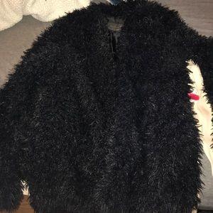 Black fuzzy coat