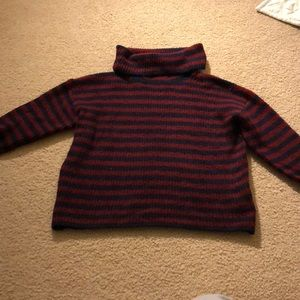 Maroon and navy blue striped sweater