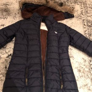 Long navy Abercrombie and Fitch hooded coat
