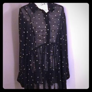 Lane Bryant 22\24 black tunic with gold stars