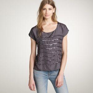 J.CREW Sequin Rows Gray Silk Tee - size 2 NWOT