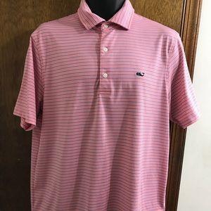 Vineyard Vines Men's Pink Stripe Polo Shirt