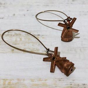 {HANDMADE} Vintage Copper Windmill Earrings